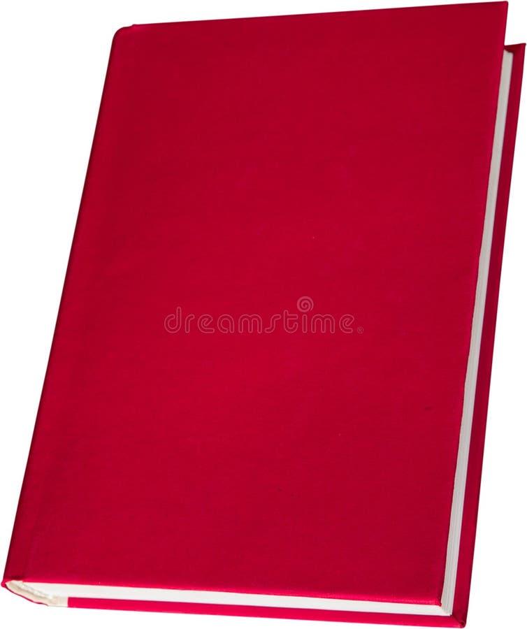 Leeg rood die hardcoverboek op wit wordt geïsoleerd stock afbeeldingen