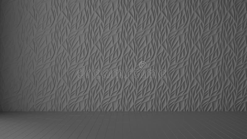 Leeg ruimte binnenlands ontwerp, grijs paneel en houten grijze vloer, moderne architectuurachtergrond met exemplaarruimte, het id vector illustratie