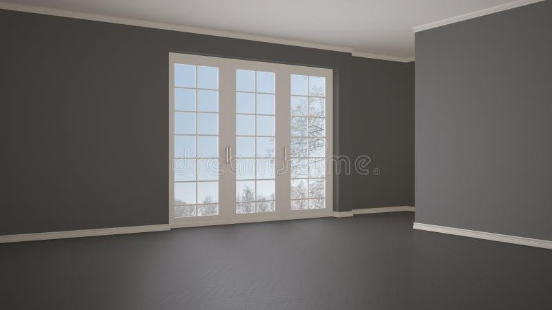 Leeg ruimte binnenlands ontwerp, open plek met groot panoramisch venster op de winterweide met sneeuw en bomen, houten parketvisg stock illustratie