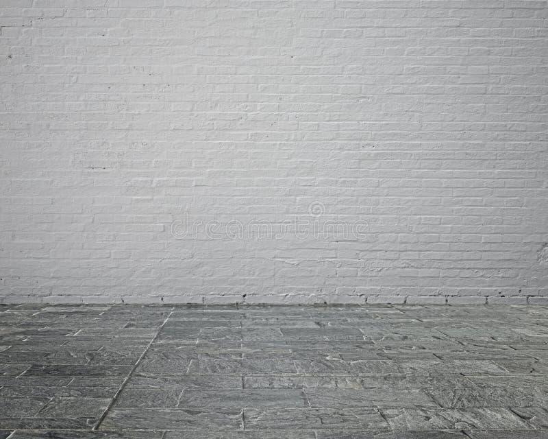 Leeg ruimtebinnenland met bakstenen muur en steenvloer royalty-vrije stock afbeelding