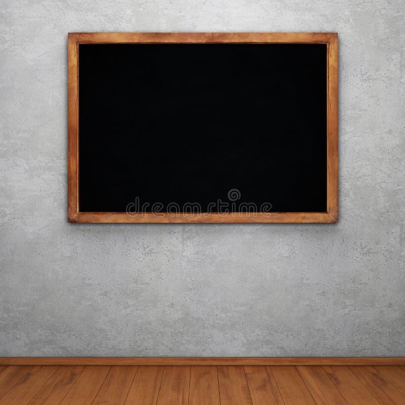 Leeg schoolbord op concrete muur stock illustratie
