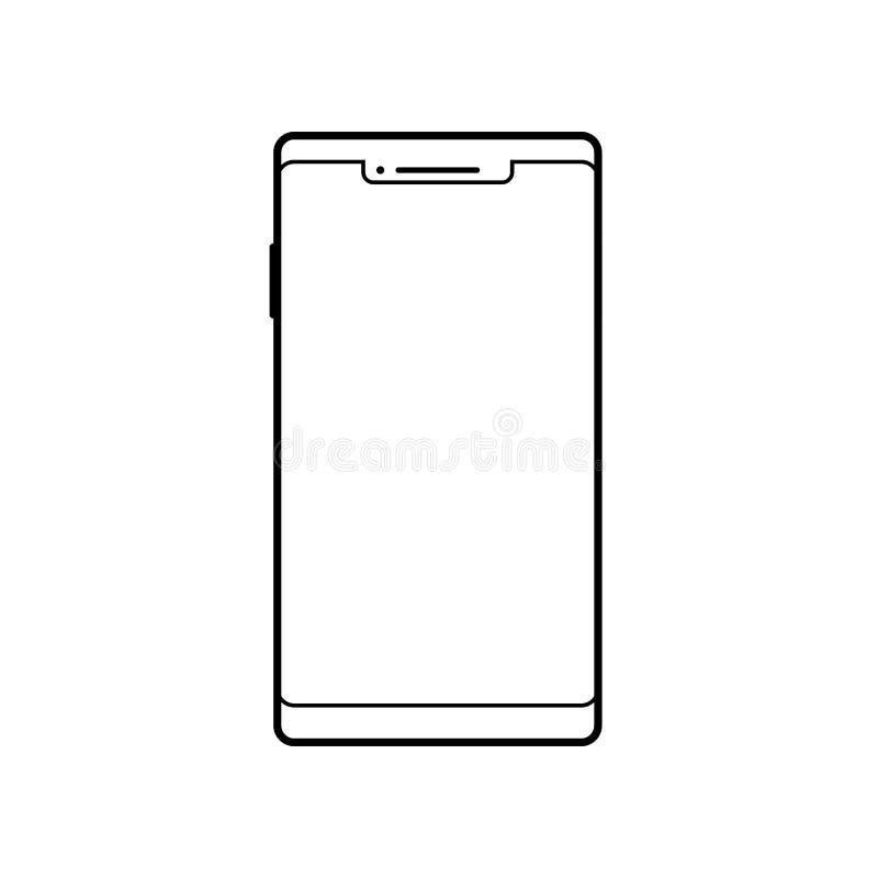 Leeg smartphonepictogram Het symbool van de celtelefoon Mobiel gadget, PDA-malplaatje royalty-vrije illustratie