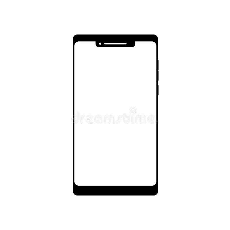 Leeg smartphonepictogram Het symbool van de celtelefoon Mobiel gadget, PDA-malplaatje stock illustratie