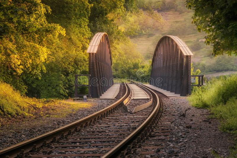 Leeg spoorwegbos bij zonsondergang Prachtig atmosferisch landschap royalty-vrije stock foto