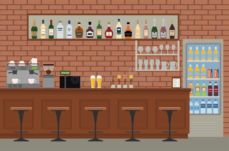 Leeg staafbinnenland Bar met houten teller, stoelen en materiaal vector illustratie