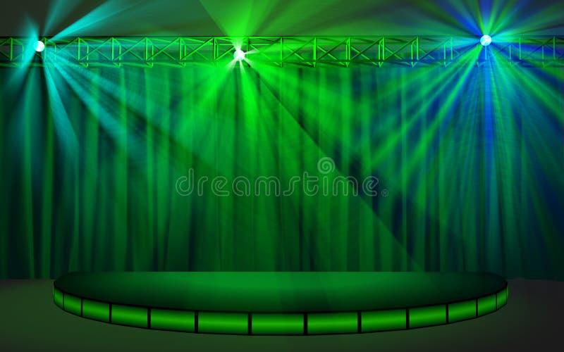 Leeg stadium met groen gordijn stock illustratie