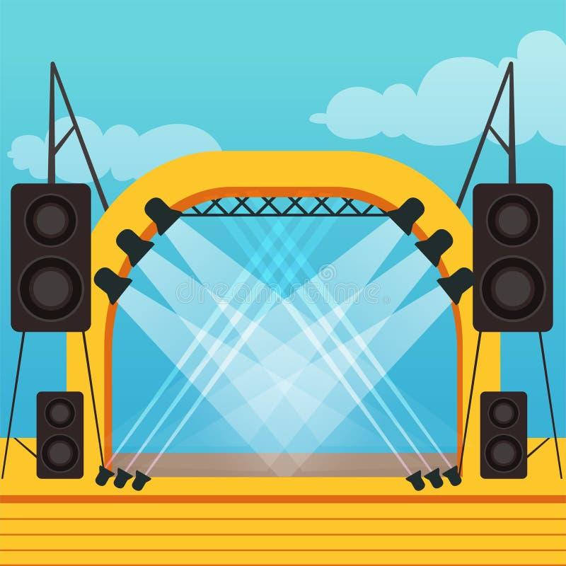 Leeg stadium voor openluchtfestival of muziekoverleg openlucht vector illustratie