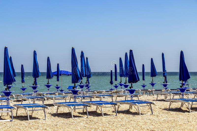Leeg strand in Porto Recanati, Italië royalty-vrije stock afbeeldingen
