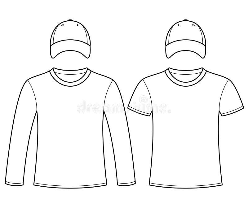 Leeg t-shirts en kappenmalplaatje royalty-vrije illustratie