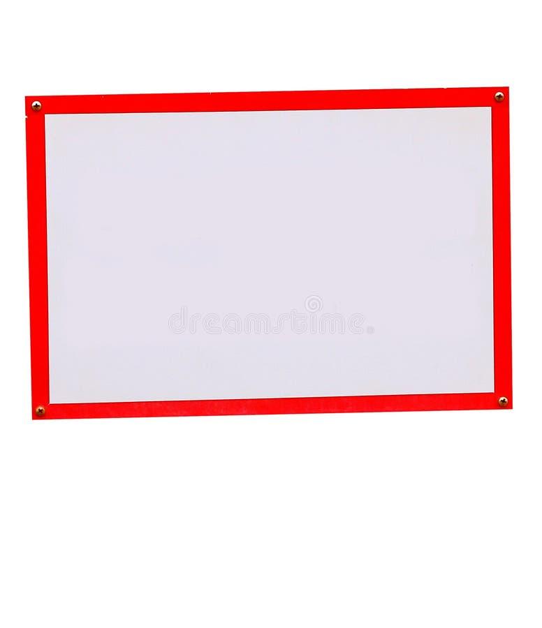 Leeg teken met rode versiering stock foto