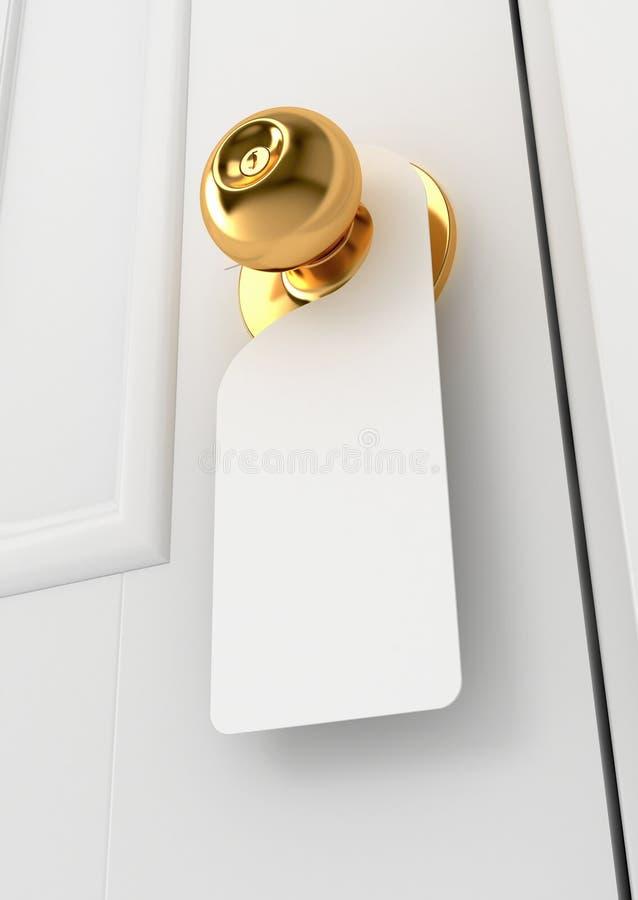 Leeg teken op het deurhandvat vector illustratie