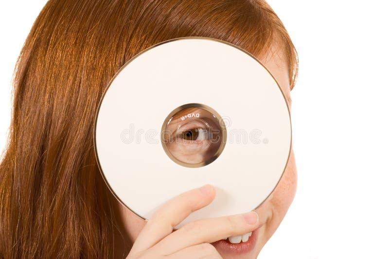 Leeg teken - rood hoofd met schijf CD of DVD stock afbeelding