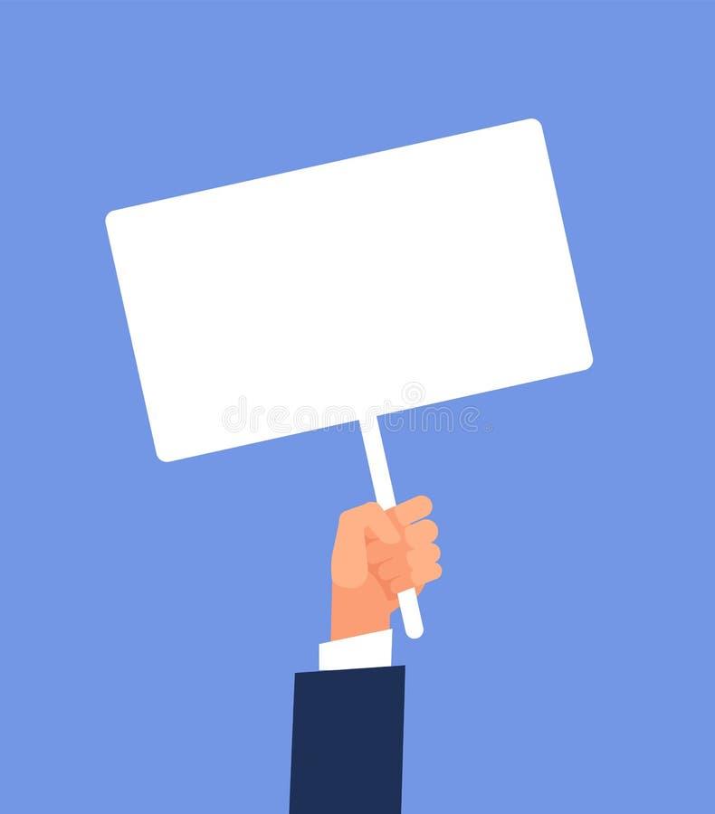 Leeg teken ter beschikking Handen die lege protestaffiche houden De vectorillustratie van het beeldverhaal royalty-vrije illustratie