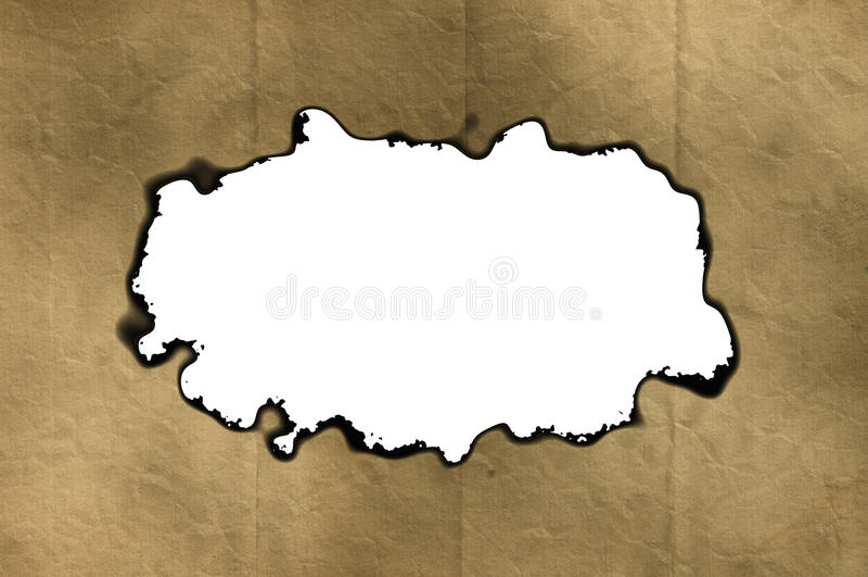 Leeg Uitstekend Document Kader met gebrande randen op witte achtergronden stock illustratie