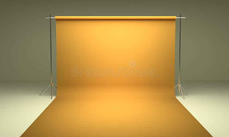 Leeg van de fotografiestudio geel malplaatje als achtergrond stock foto