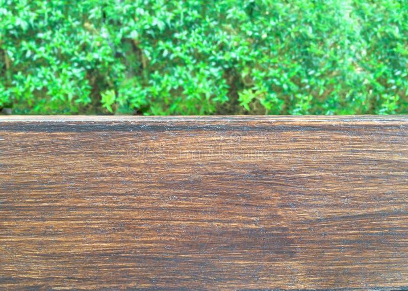 Leeg van hout bij het onduidelijke beeld van groene installaties` s bladeren van tuin Voor de vertoning van het monteringproduct stock afbeeldingen