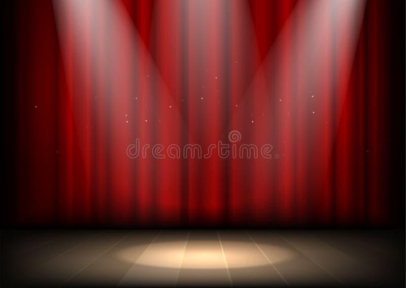 Leeg verlicht theaterstadium met rode gordijnen en schijnwerper vector illustratie