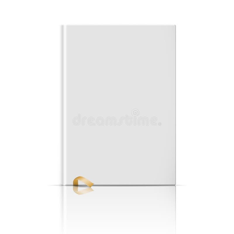Leeg verticaal boekmalplaatje met gouden referentie stock illustratie