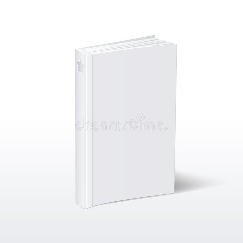 Leeg verticaal wit softcoverboek die zich op de menings vectorillustratie van het lijstperspectief bevinden royalty-vrije illustratie