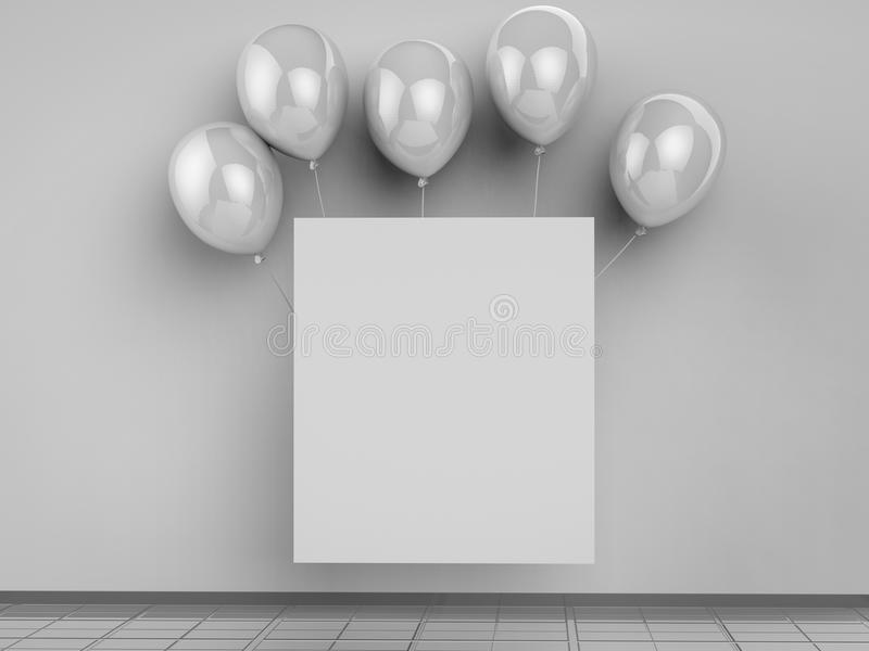 Leeg vierkant kader met zilveren ballons royalty-vrije stock fotografie