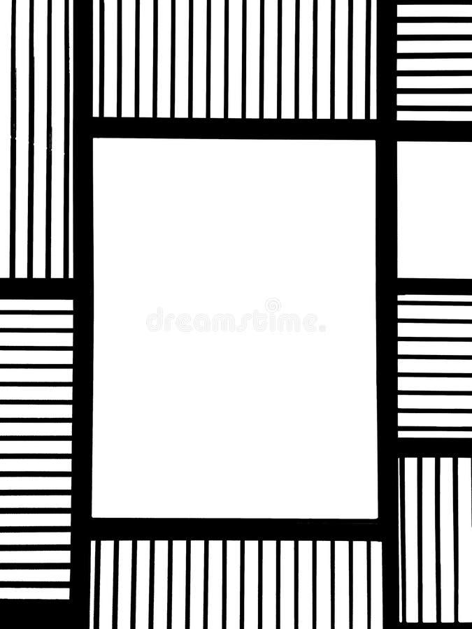 Leeg Vierkant Zwart Metaalkader met Abstract Lijn Vierkant Patroon en Copyspace in het Midden uitgeput als Malplaatje voor Spot o stock illustratie