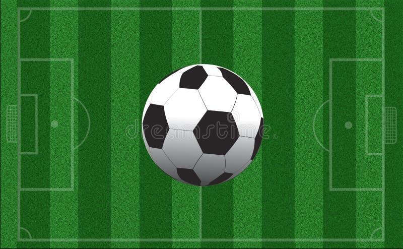 Leeg voetbalgebied met prijsverhoging Hoogste mening Sportenconcept stock illustratie