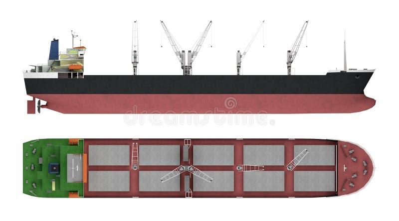 Leeg vrachtschip met kranen royalty-vrije illustratie