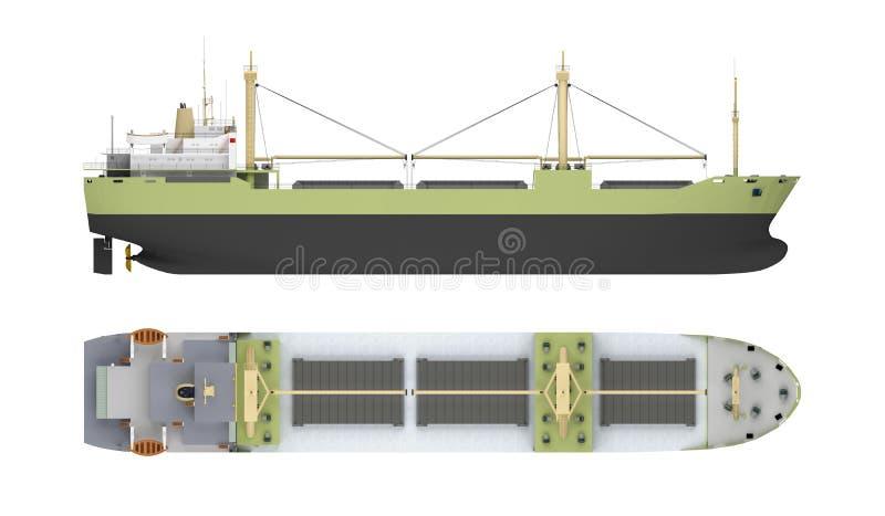 Leeg vrachtschip met kranen stock illustratie
