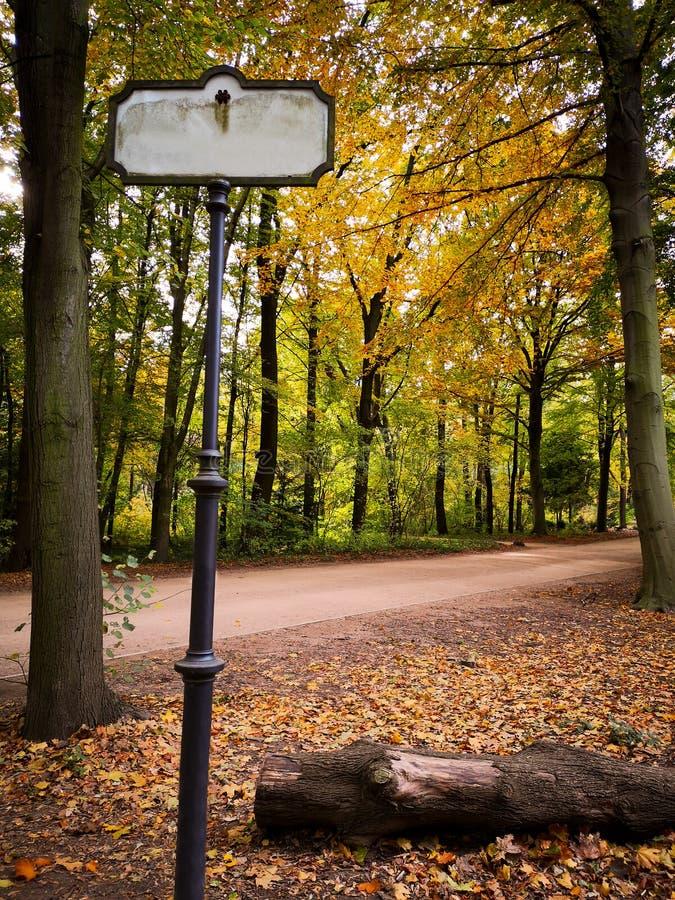 Leeg wegteken dichtbij smalle weg in een de herfstpark royalty-vrije stock fotografie