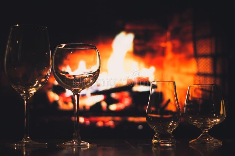 Leeg wijn & whiskyglas royalty-vrije stock foto