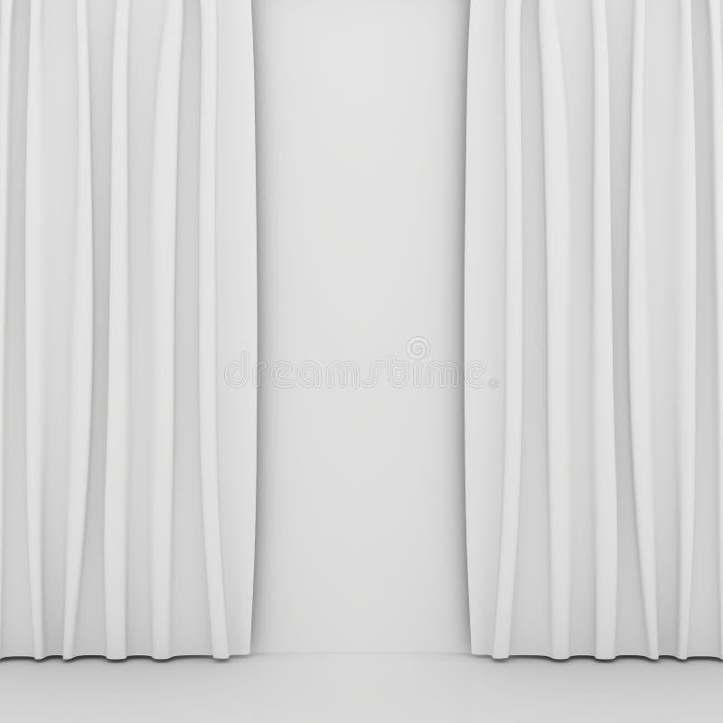 Leeg wit gordijn of gordijn op wit-grijze achtergrond royalty-vrije stock foto's