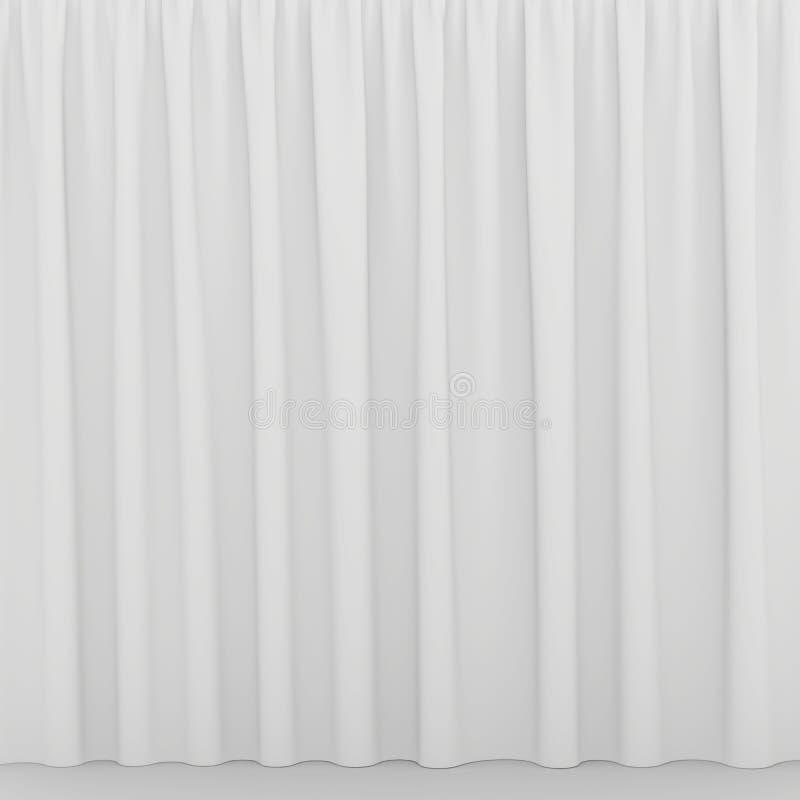 Leeg wit gordijn of gordijn op wit-grijze achtergrond royalty-vrije stock afbeeldingen