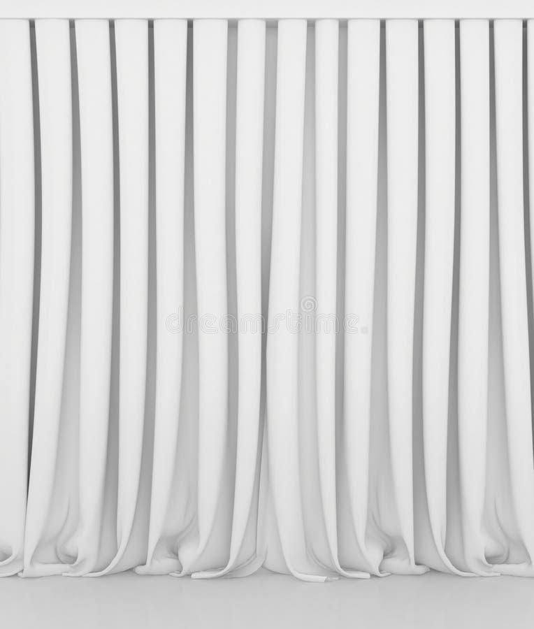 Leeg wit gordijn of gordijn op wit-grijze achtergrond stock foto's