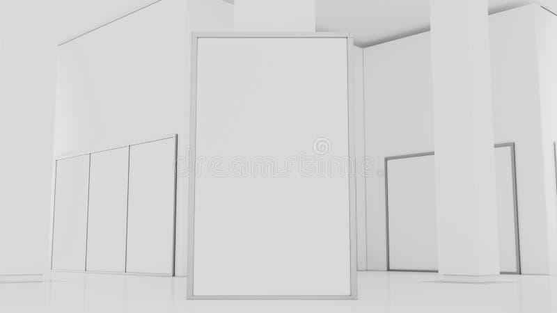 Leeg wit muurmodel in zonnig modern leeg museum, het 3d teruggeven Duidelijke grote tribunespot omhoog in galerij royalty-vrije illustratie
