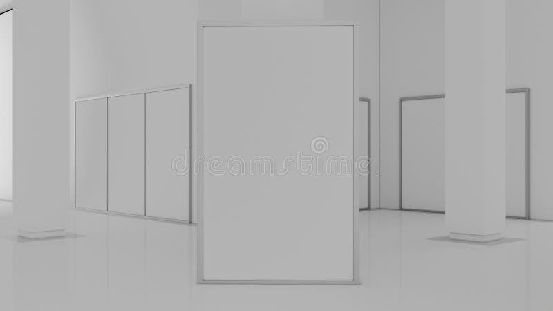 Leeg wit muurmodel in zonnig modern leeg museum, het 3d teruggeven Duidelijke grote tribunespot omhoog in galerij stock illustratie