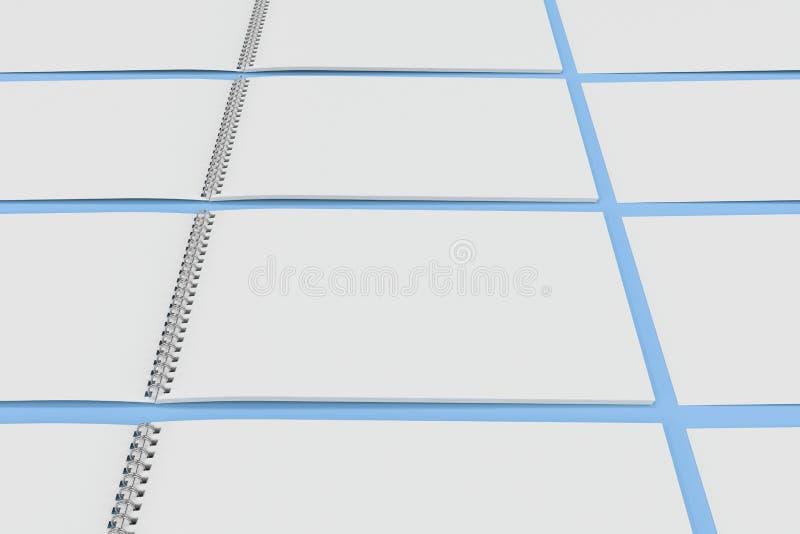 Leeg wit notitieboekje met metaalspiraal - verbindend op blauwe achtergrond vector illustratie
