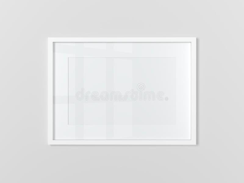 Leeg wit rechthoekig fotokader op lichtgrijze muur horizontaal stock illustratie