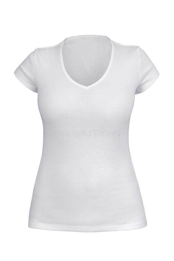 Leeg wit V - halst-shirt voor geïsoleerde vrouw stock afbeeldingen