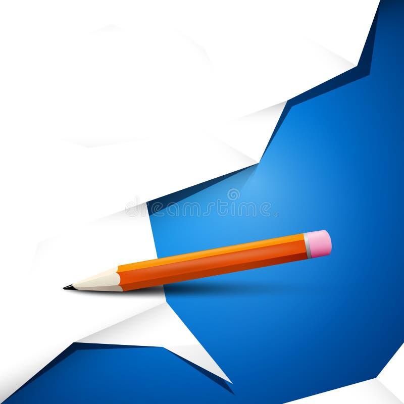 Leeg Wit Verfrommeld Document op Blauwe Achtergrond royalty-vrije illustratie