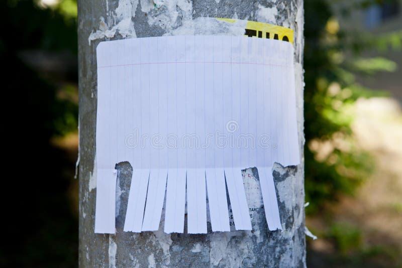 Leeg Witboek met scheur van lusjes stock afbeelding