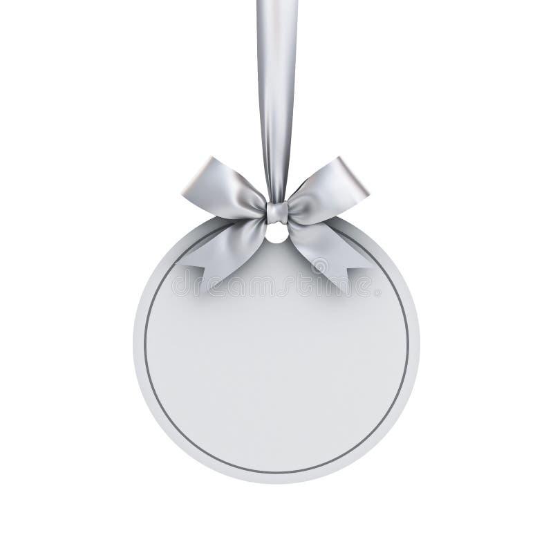 Leeg Witboek om van de het kadermarkering van de Kerstmisbal het malplaatje van de het etiketkaart het hangen met glanzend zilver stock illustratie