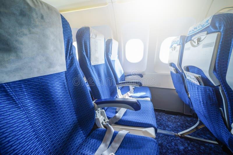 Leeg zetelsbinnenland van een vliegtuig stock foto