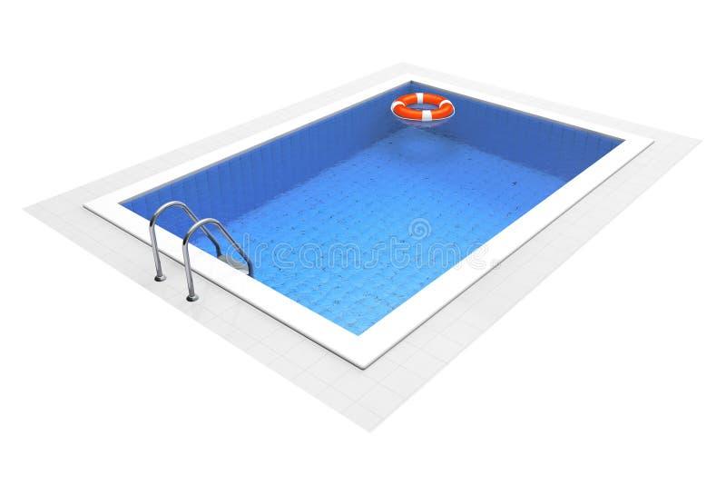 Leeg Zwembad met Reddingsboei royalty-vrije illustratie