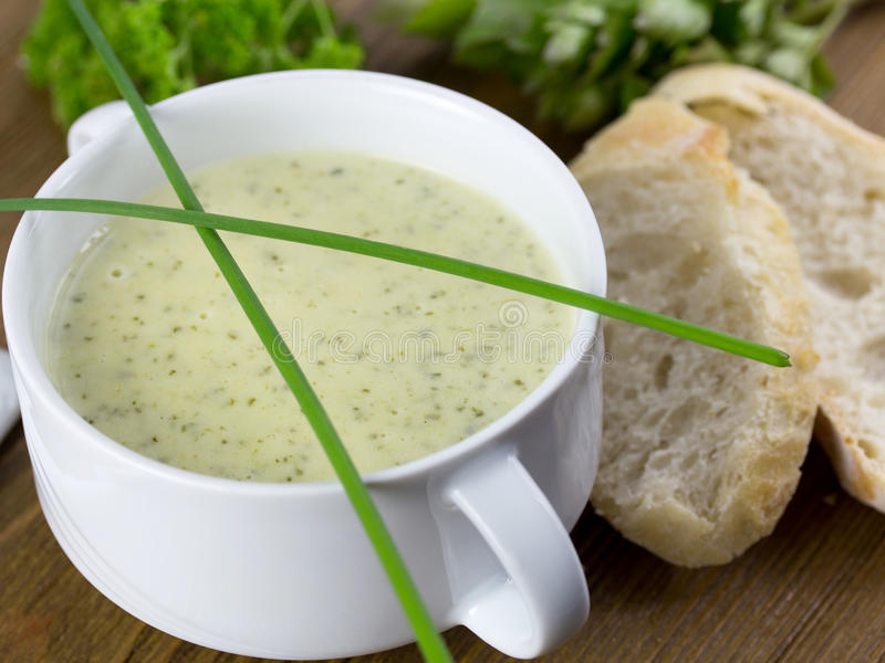 Leek cream soup. Nicely on a table stock image