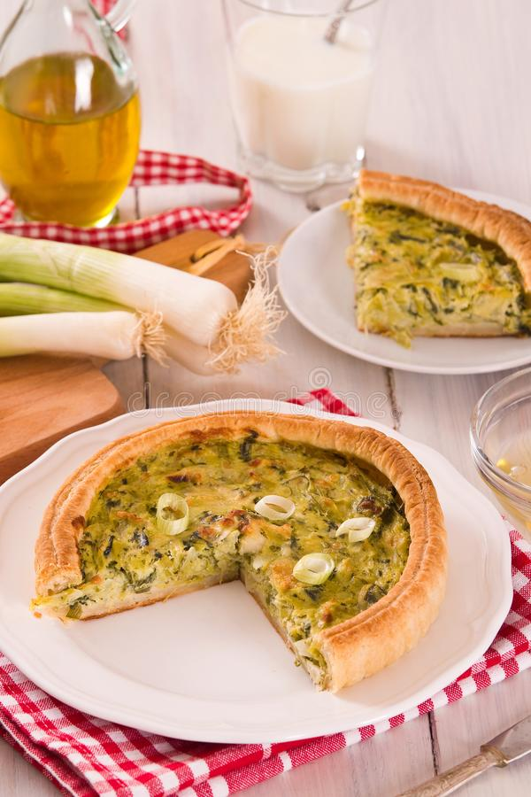 Leek quiche. Leek quiche with hot chilli pepper on white dish stock image