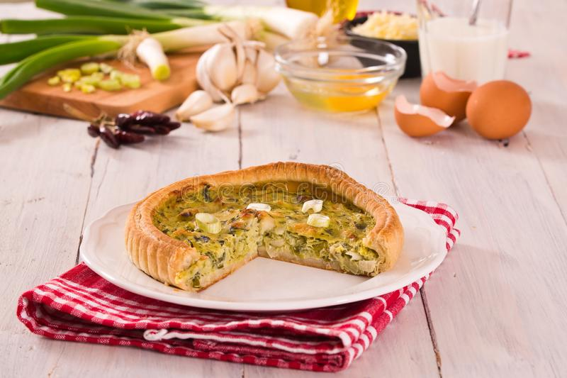 Leek quiche. royalty free stock photos