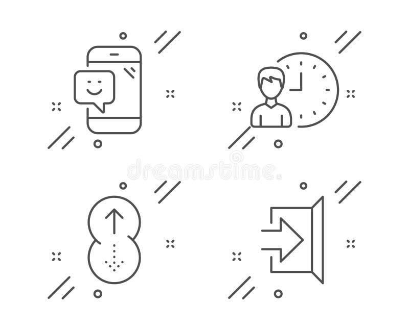 Leende, arbetstid och hårt slag upp symbolsuppsättning g? ut fr?n tecknet Telefonåterkoppling, projektstopptid som bläddrar sidan stock illustrationer