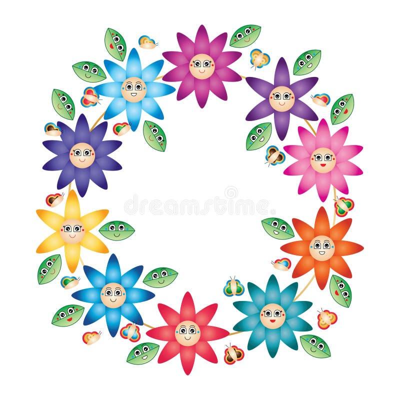 Leende för cirkel för blomma för tecknad filmbladfjäril vektor illustrationer