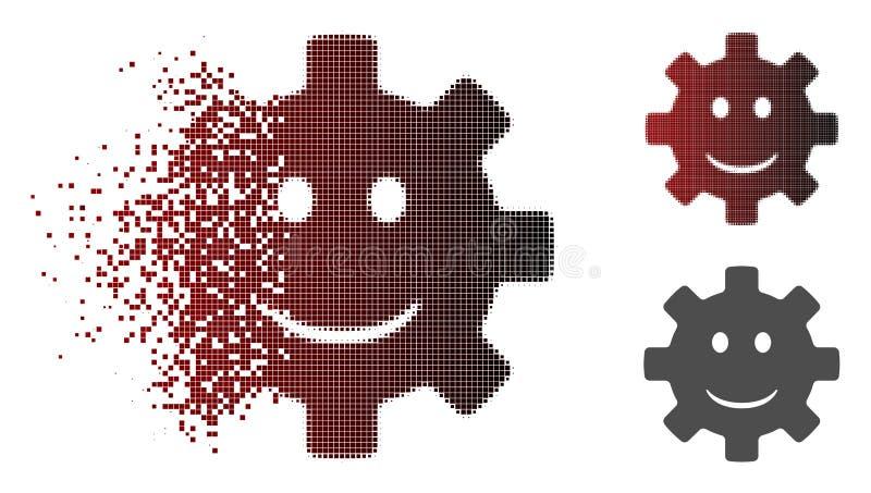 Leende Smiley Icon för dammPixelated rastrerat kugghjul stock illustrationer