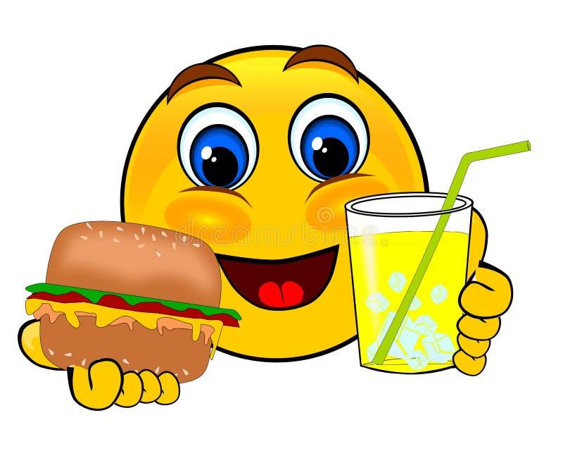 Leendeemoticons som rymmer hamburgare- och islemonad royaltyfri illustrationer